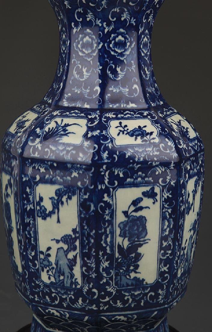 A Blue and White Flower Painted Eight Sided Vase - 4