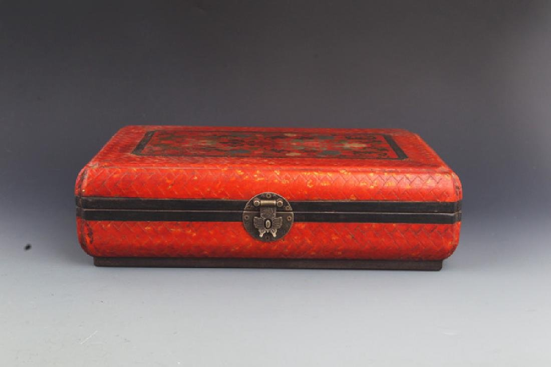 A Red Color Flower Painted Jewelry Box