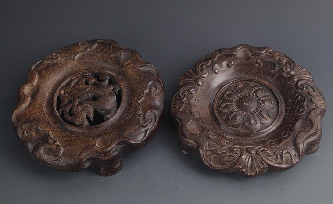 Pair of Sandalwood Carved Wooden Base