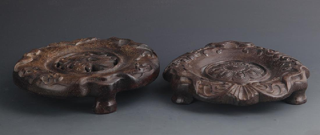 Pair of Sandalwood Carved Wooden Base - 2