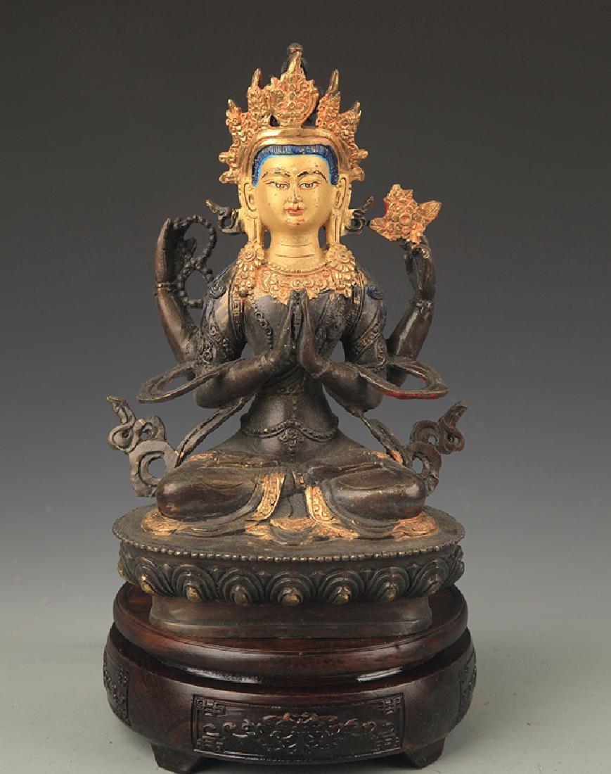 A Tibetan Buddhism Bronze Guan Yin Statue