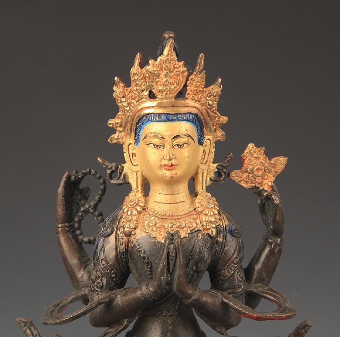 A Tibetan Buddhism Bronze Guan Yin Statue - 2