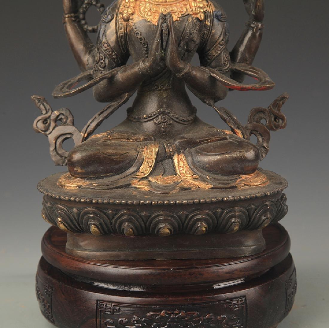 A Tibetan Buddhism Bronze Guan Yin Statue - 3