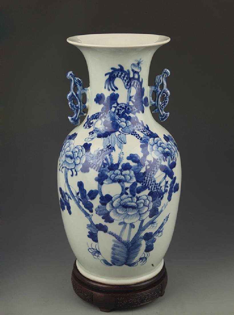 A Blue and White Dragon and Peony Double Ear Vase