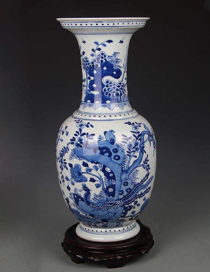 BLUE AND WHITE PEONY FLOWER PATTERN WIDE TOP VASE