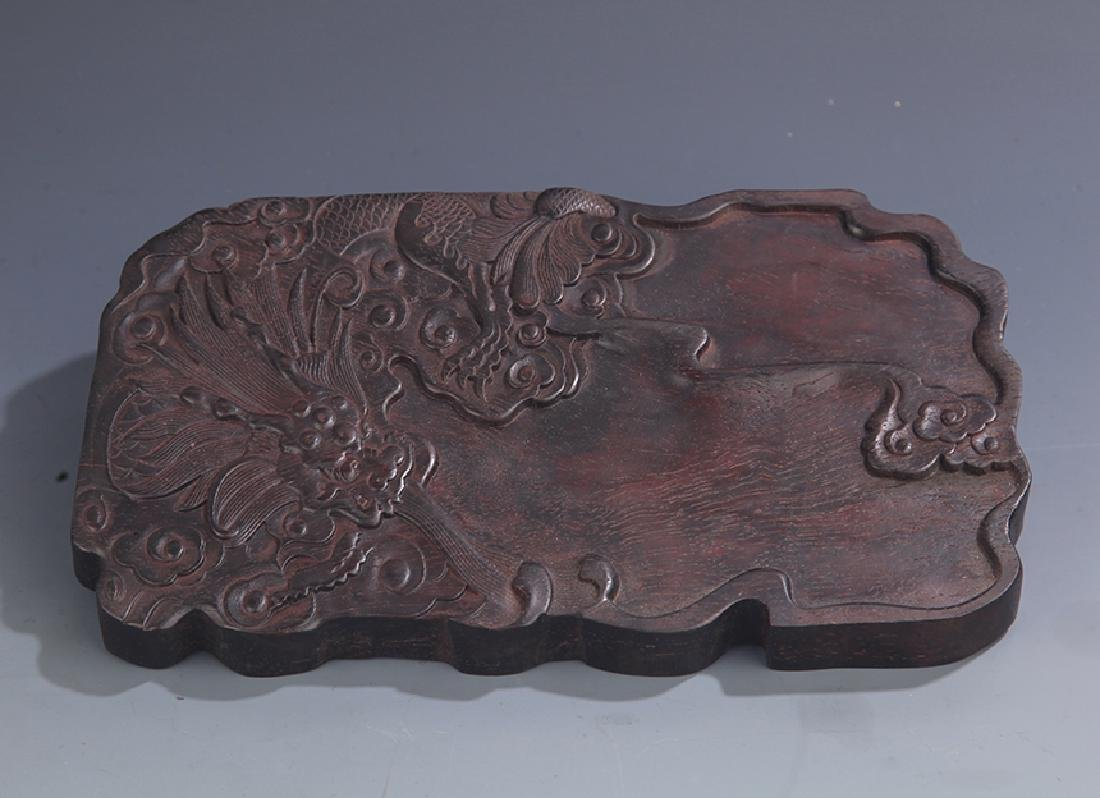 A FINE ROSEWOOD CARVING DRAGON CARVING BRUSH LICK JAR