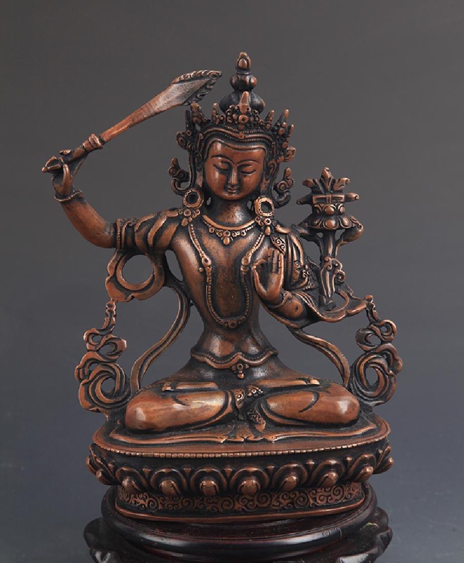TIBETAN BUDDHISM BRONZE MANJUSRI BUDDHA FIGURE