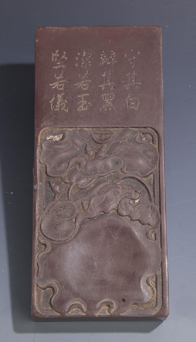A FINE LOTUS FLOWER CARVING STONE INK