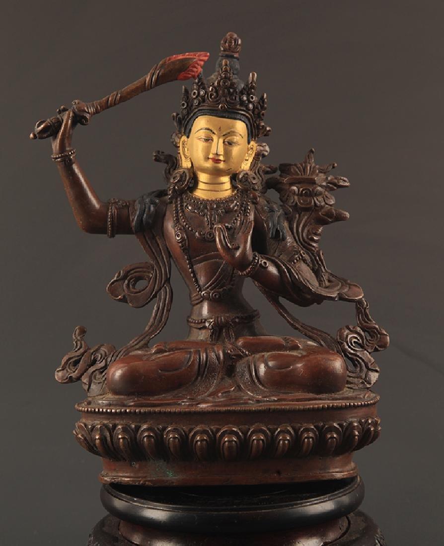 A FINE BRONZE MANJUSRI BUDDHA FIGURE