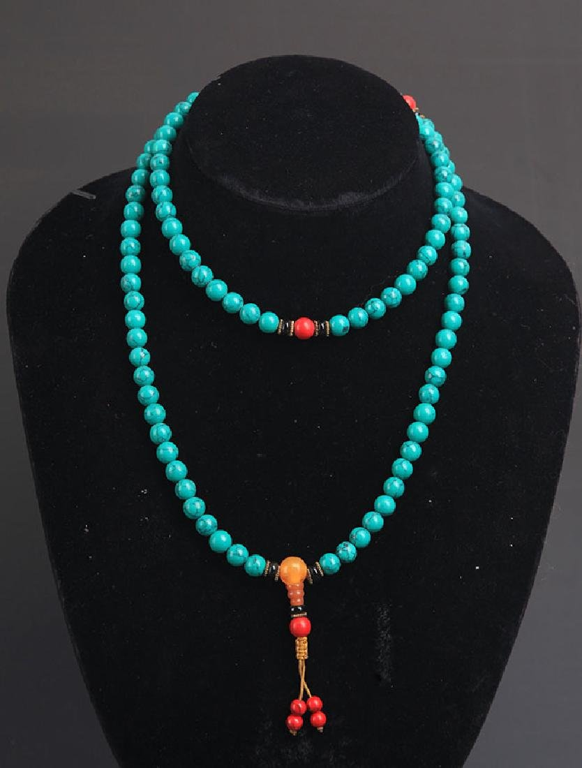 A TURQUOISE WITH CORAL NECKLACE