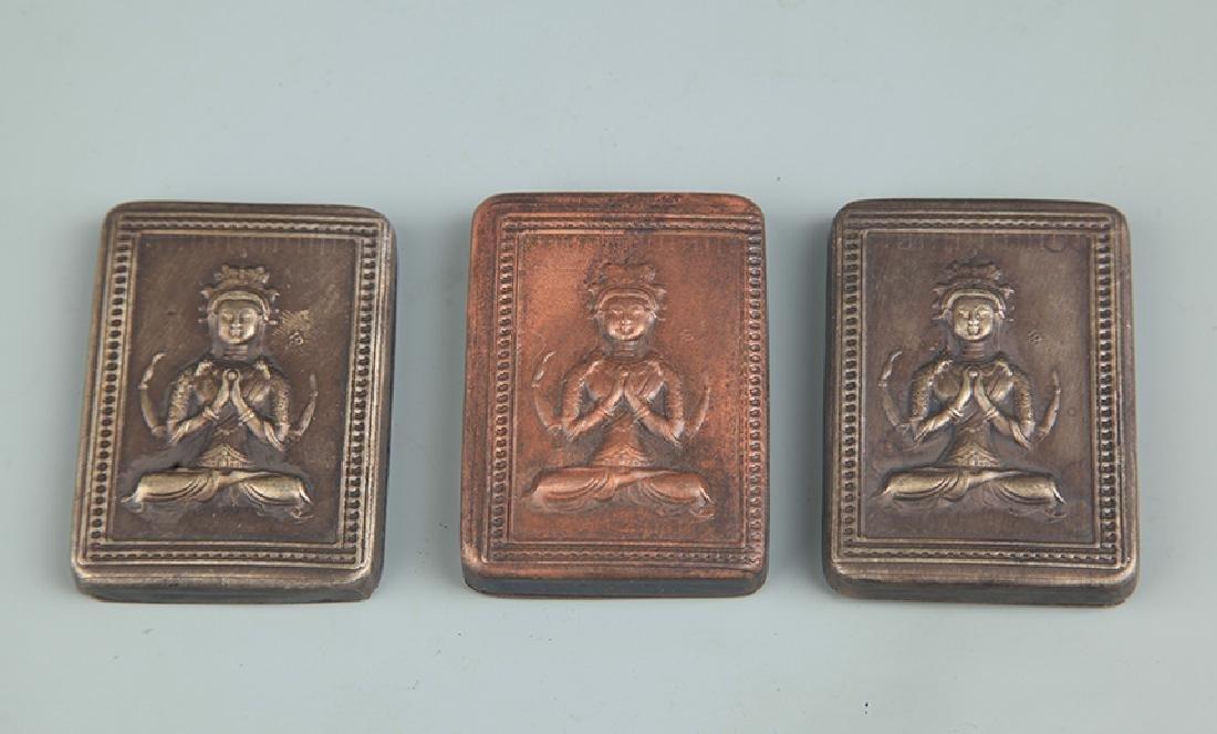 GROUP OF THREE BRONZE BUDDHA FIGURE INK BOX
