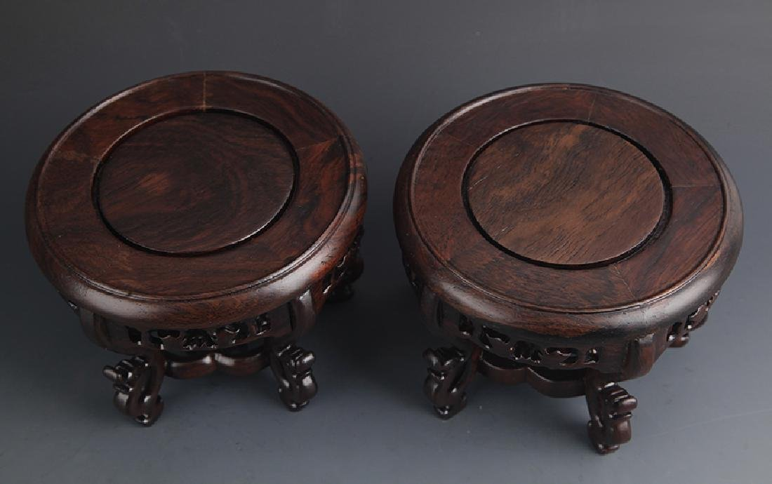 PAIR OF HUA LI MU DRAGON CARVING FOOT WOOD BASE