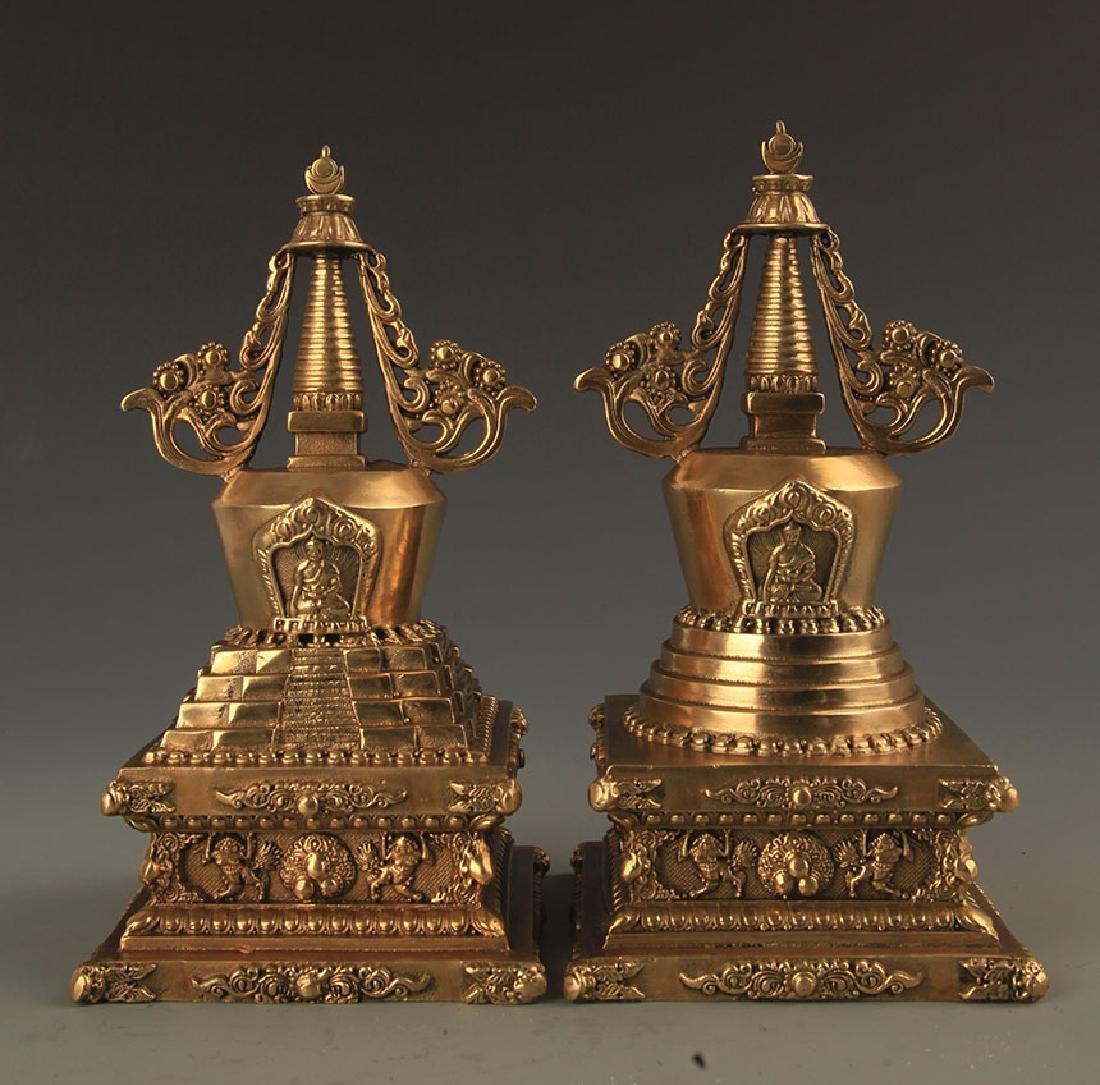 PAIR OF TIBETAN BUDDHISM TOWER