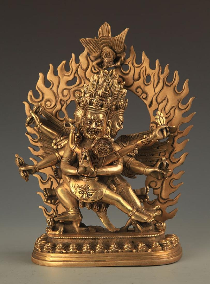TIBETAN BUDDHISM BRONZE KALACHAKRA FIGURE