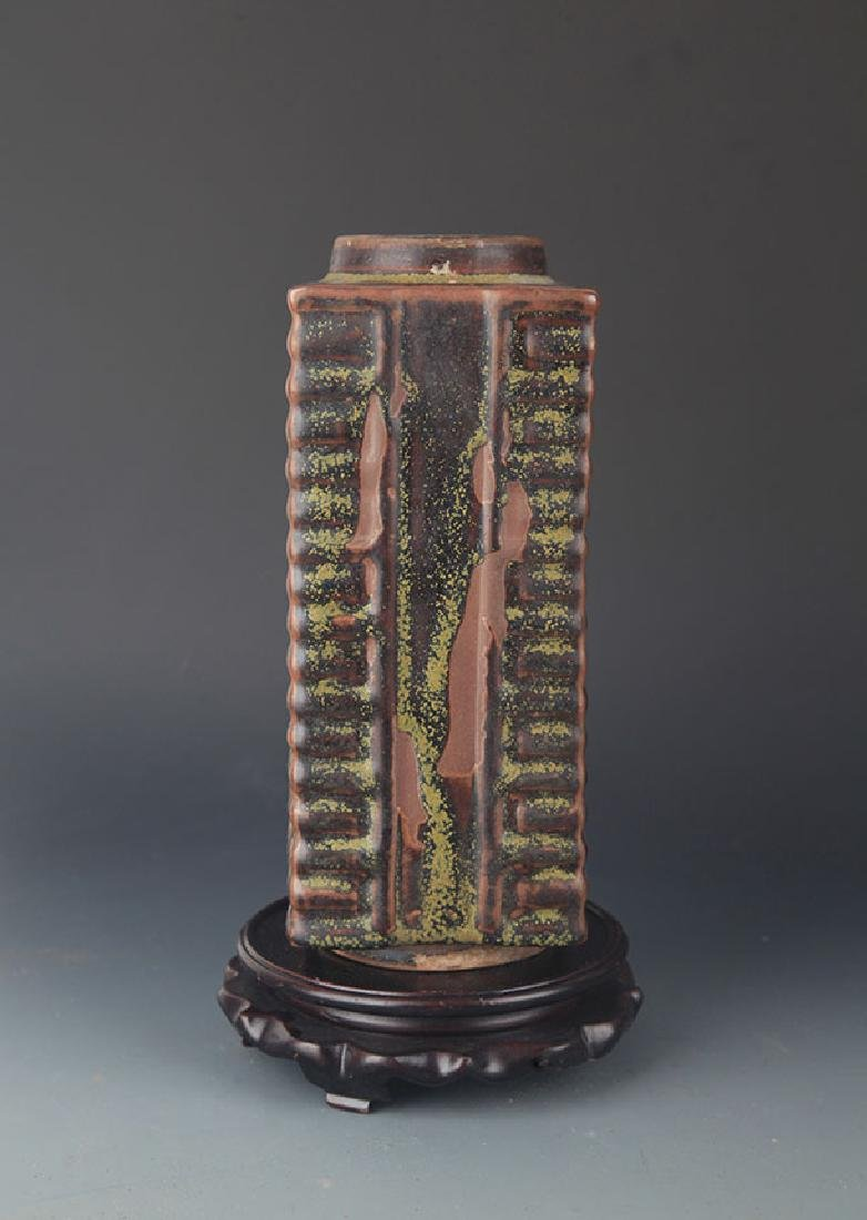 "A FINE OLD TEA COLOR GROUND ""ZONG"" STYLE VASE"