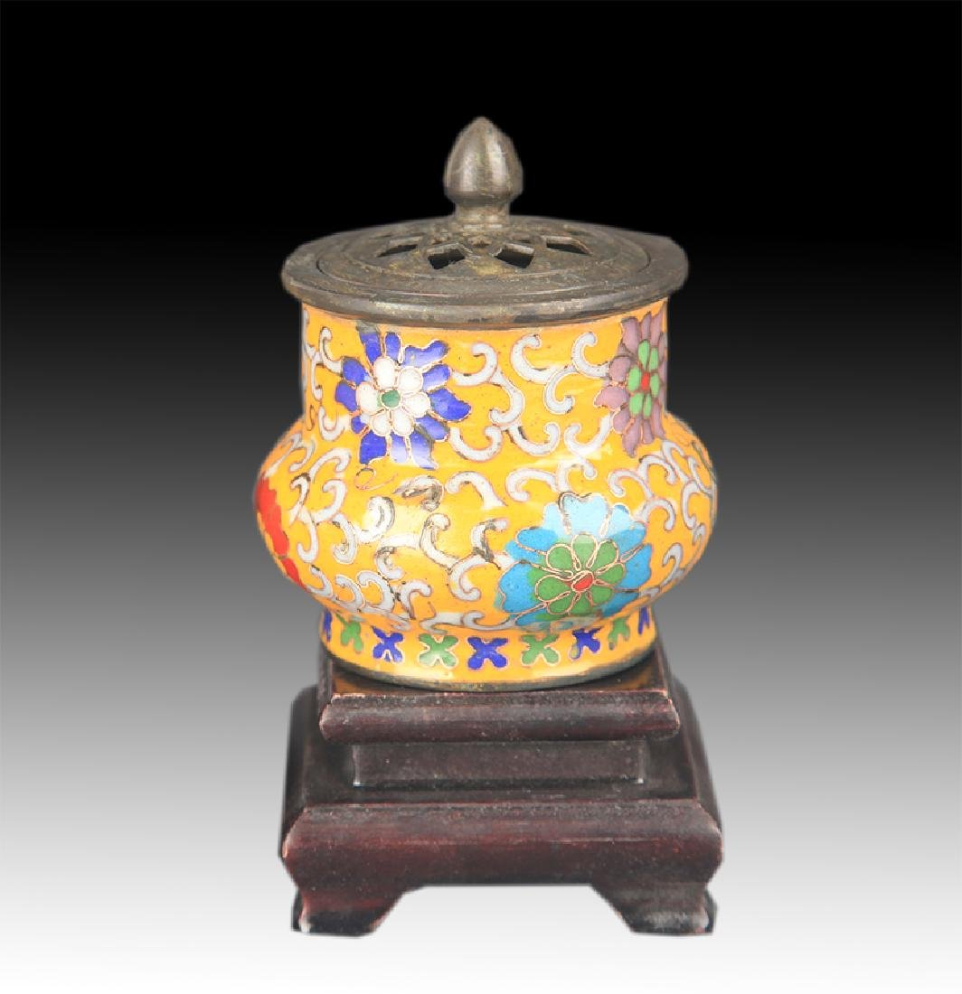 FAIENCE COLOR FLOWER PATTERN BRONZE AROMATHERAPY