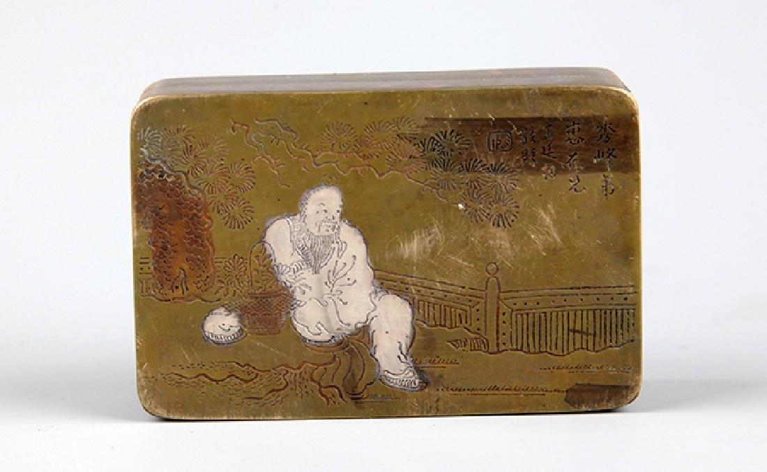 A FINE FEMALE CARVING BRONZE INK BOX