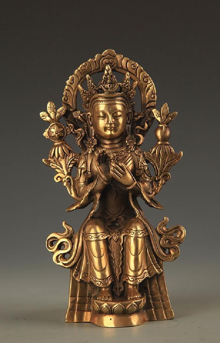 A FINE BRONZE MAITREYA BUDDHA