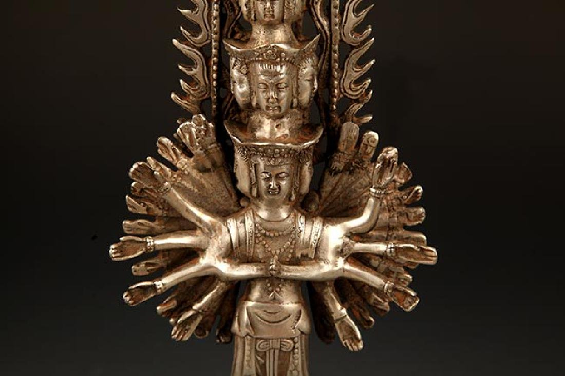 A FINE TIBETAN THOUSAND HAND GUAN YIN BUDDHA - 4