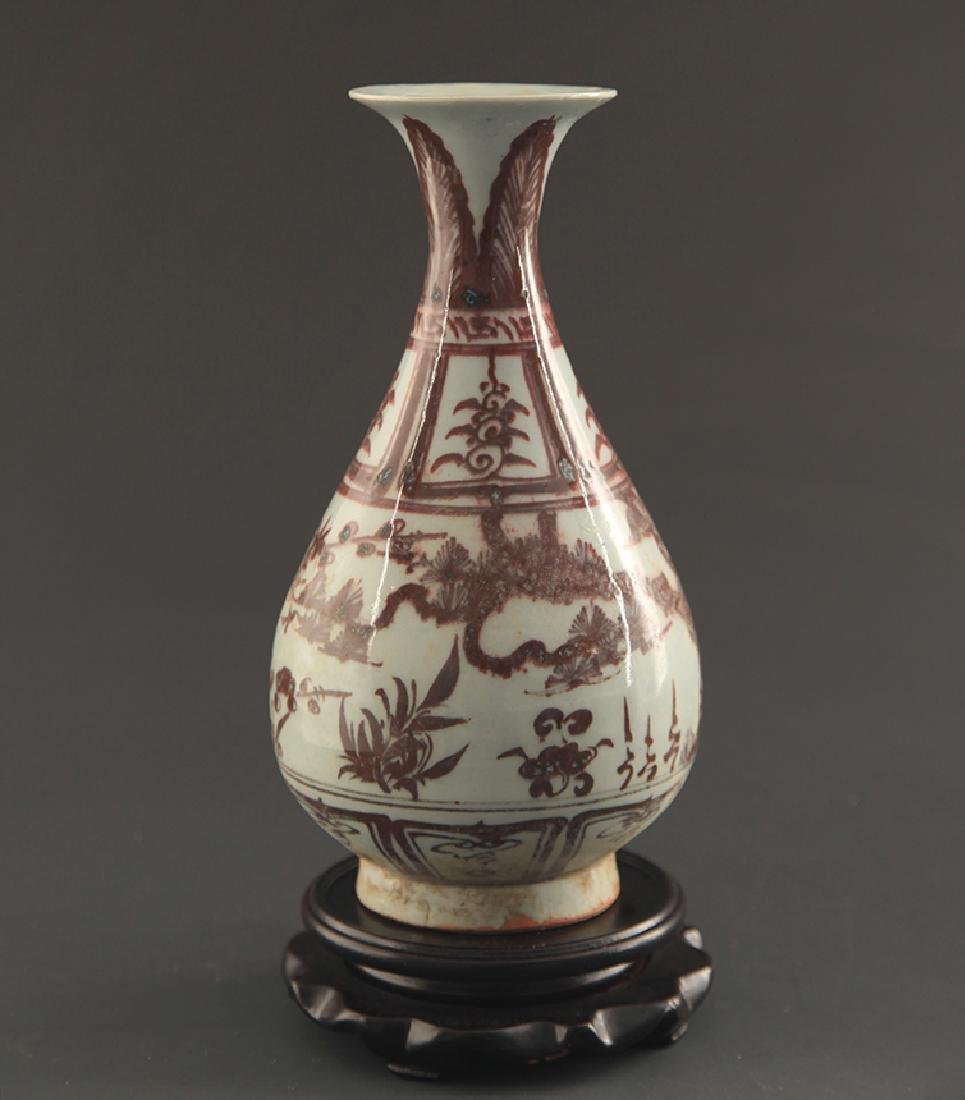 A FINE YOU LI HONG YU HU CHUN PORCELAIN VASE