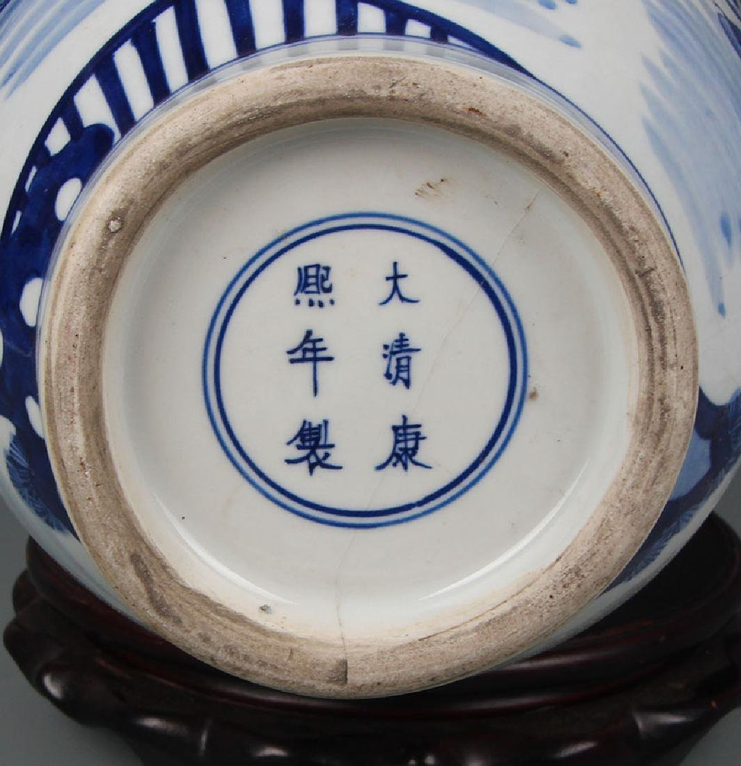 BLUE AND WHITE STORY PAINTED PORCELAIN VASE - 5