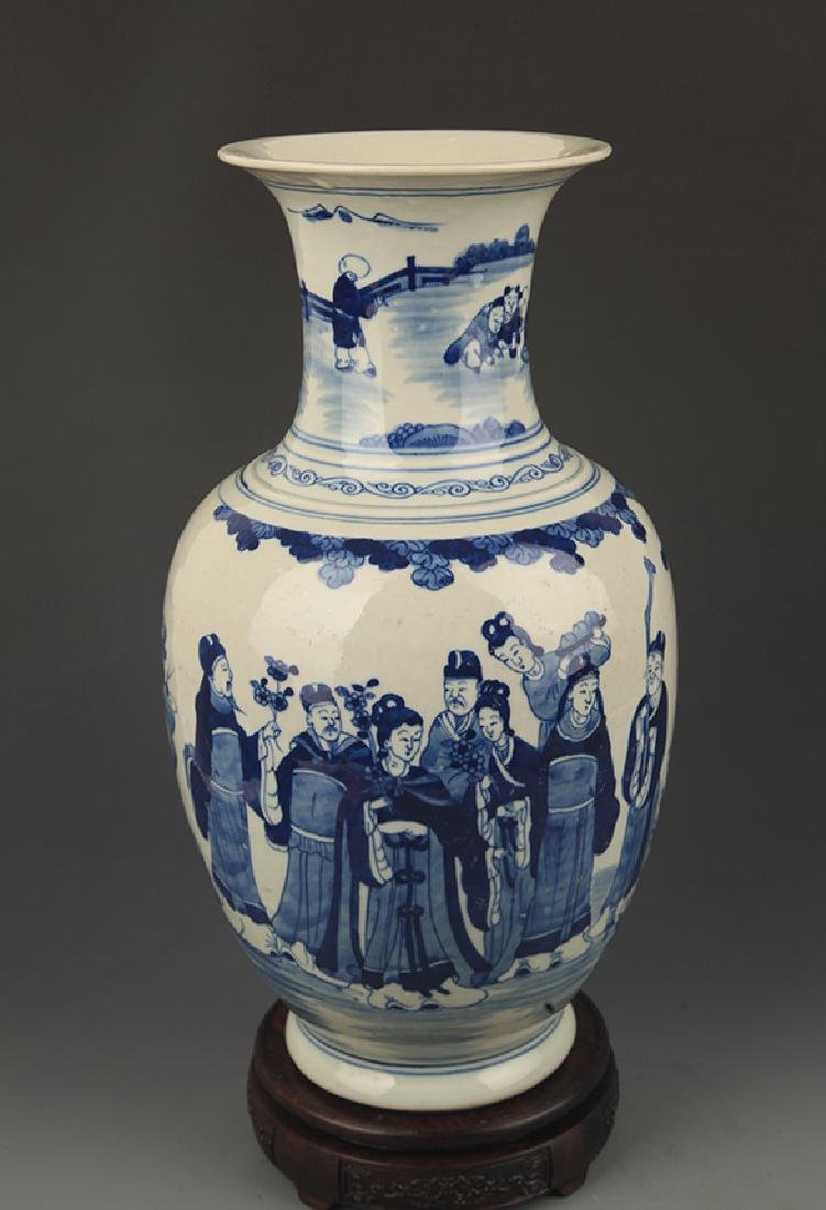 BLUE AND WHITE CHARACTER PAINTED PORCELAIN VASE