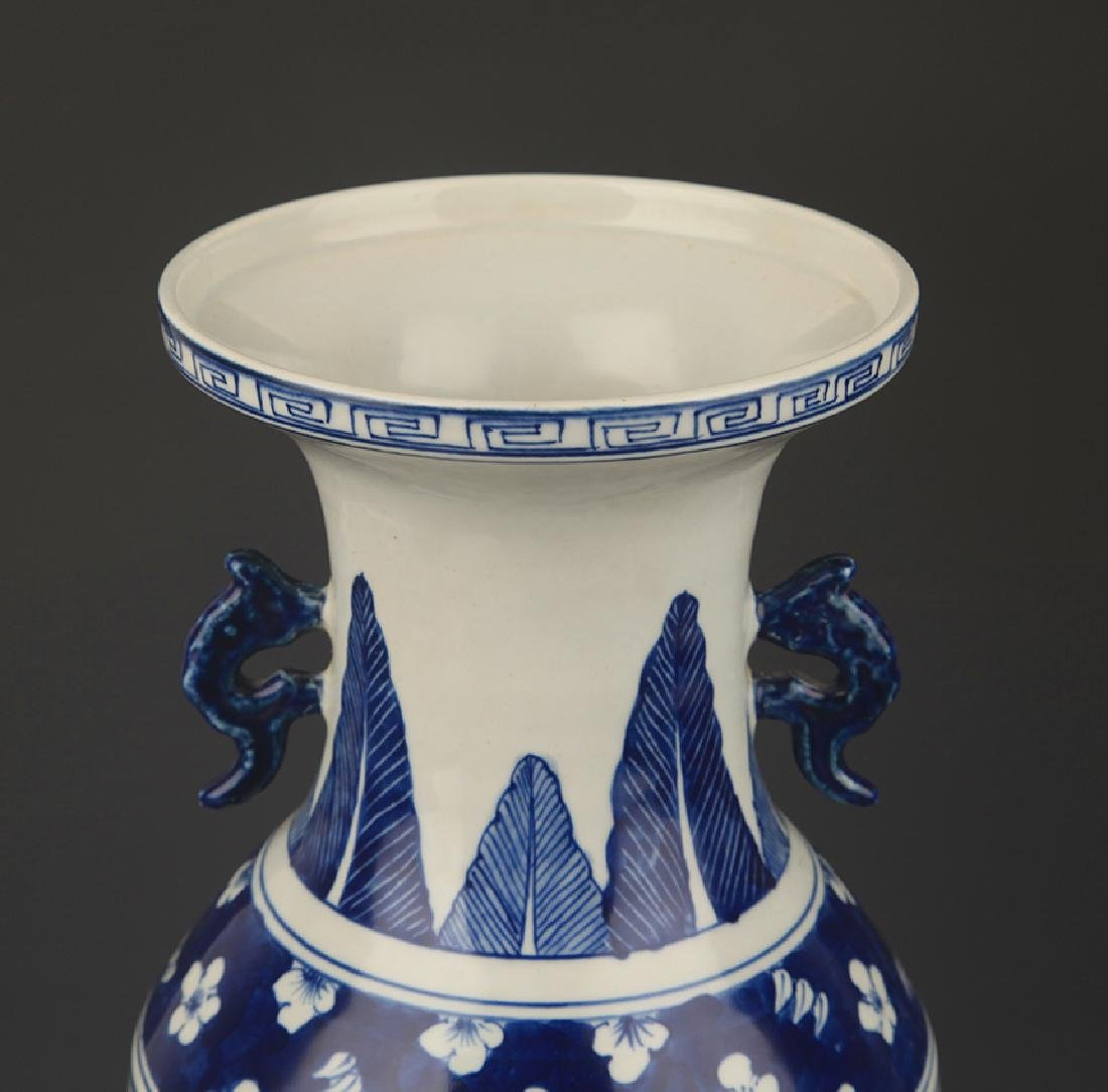 BLUE AND WHITE STORY PAINTED WIDE TOP PORCELAIN VASE - 2