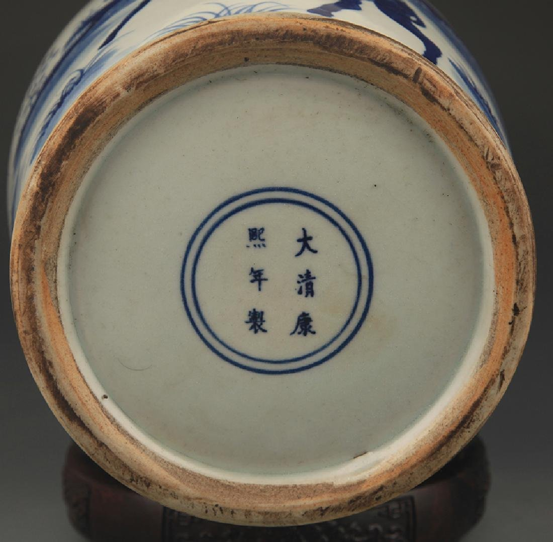 BLUE AND WHITE STORY PAINTED WIDE TOP PORCELAIN VASE - 5