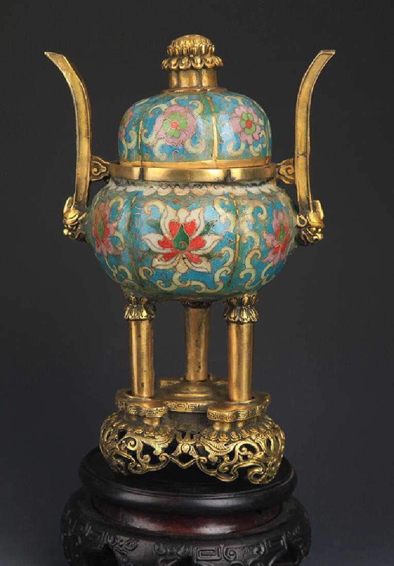 A BRONZE CLOISONNE AROMATHERAPY WITH BASE