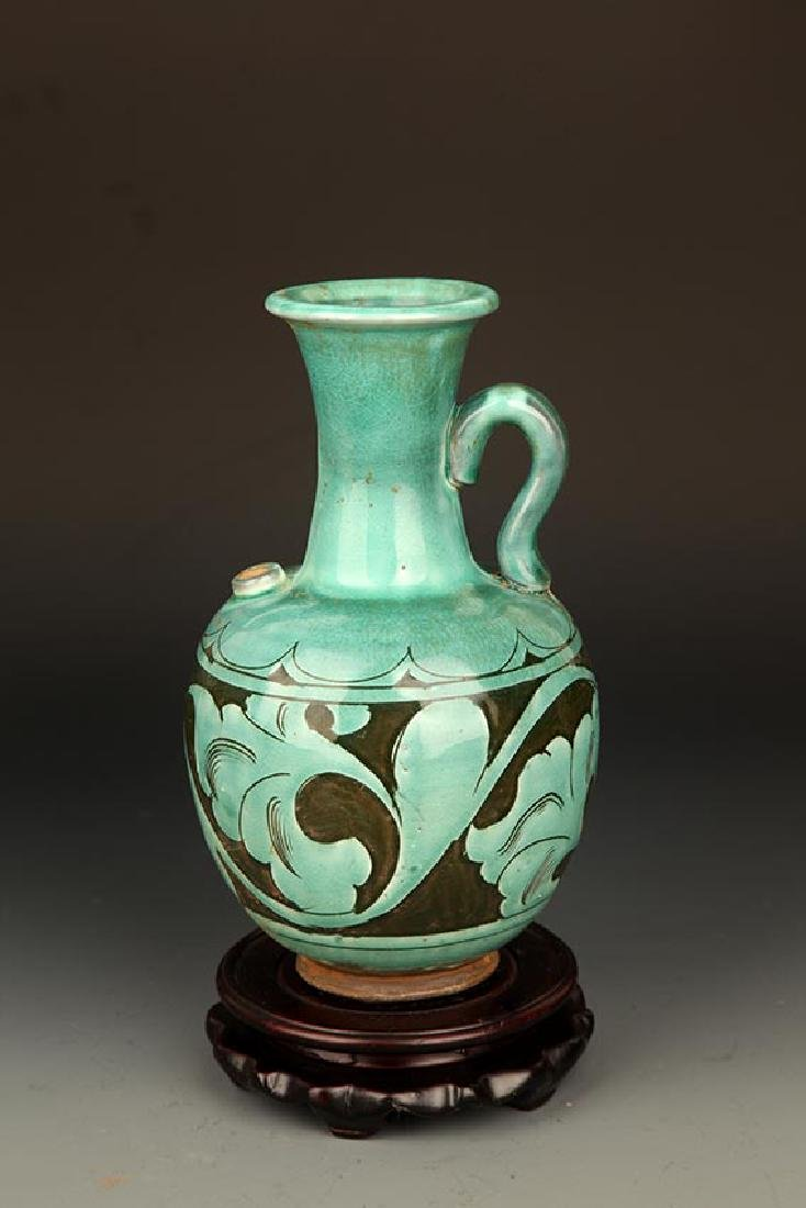 GREEN GLAZED FLOWER CARVING PORCELAIN JAR
