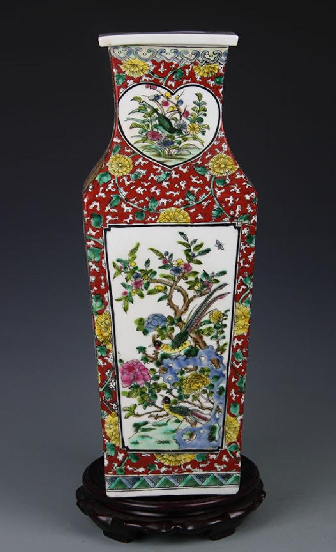 FAMILLE ROSE FLOWER AND BIRD PAINTED SQUARE VASE