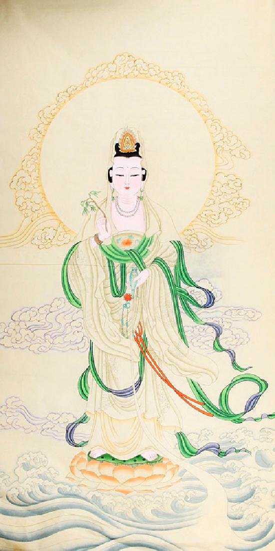 A FINE CHINESE PAINTING GUAN YIN FIGURE