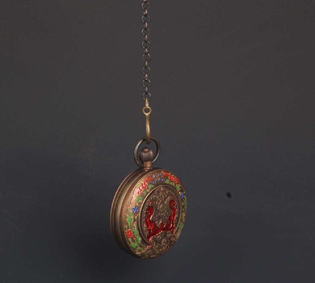 A BRONZE FAIENCE COLOR POCKET WATCH - 2