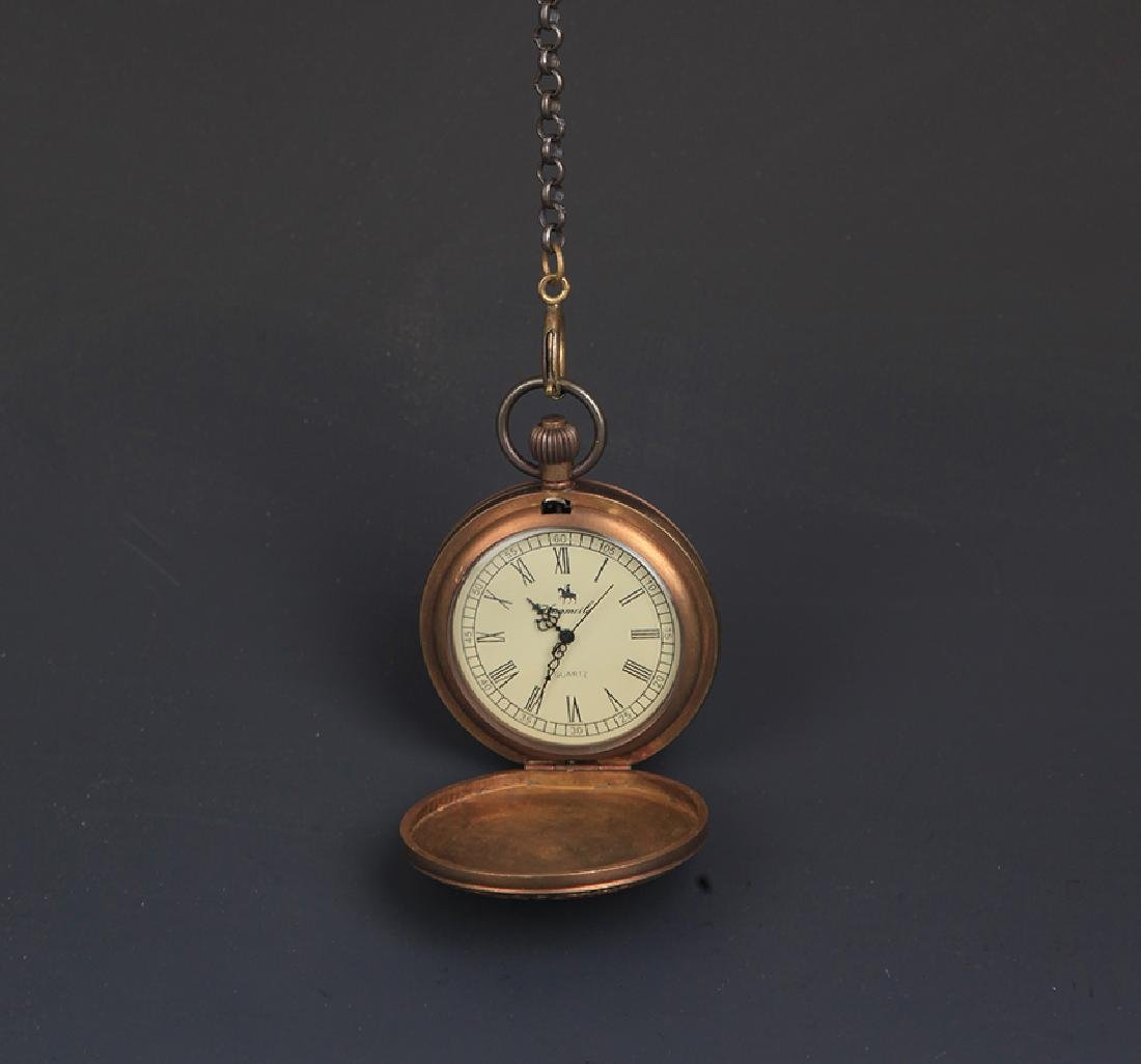 A BRONZE FAIENCE COLOR POCKET WATCH - 3