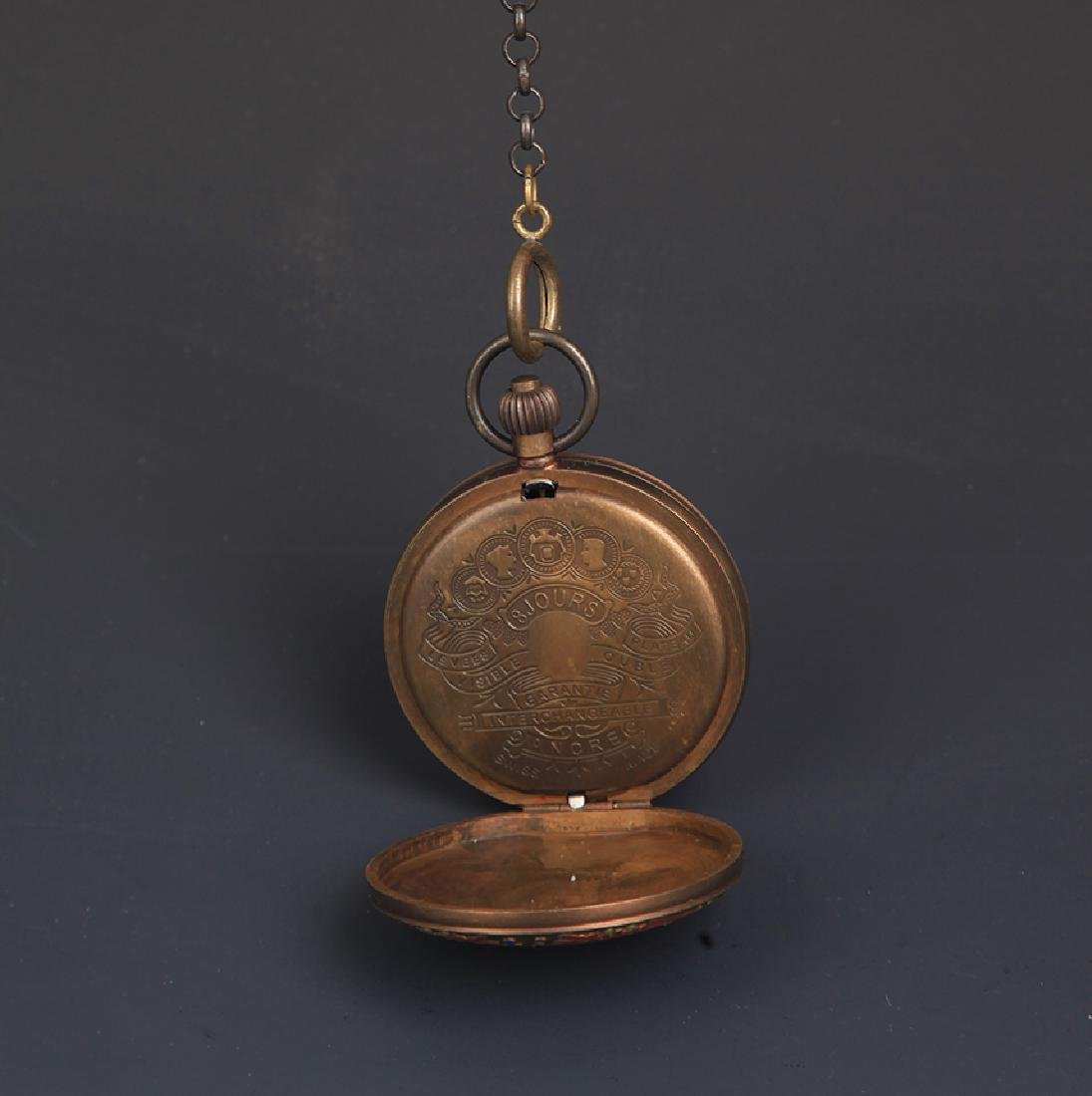 A BRONZE FAIENCE COLOR POCKET WATCH - 4