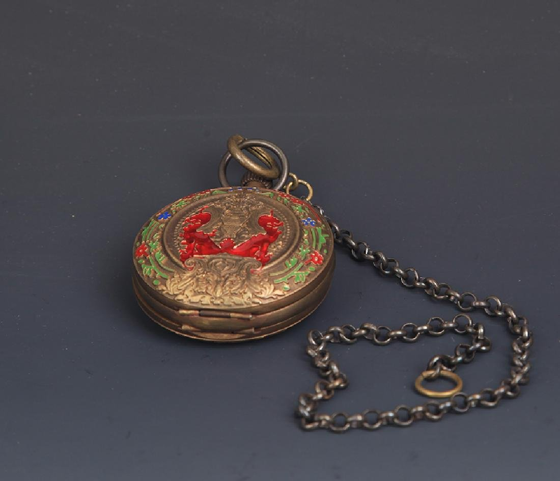 A BRONZE FAIENCE COLOR POCKET WATCH - 5