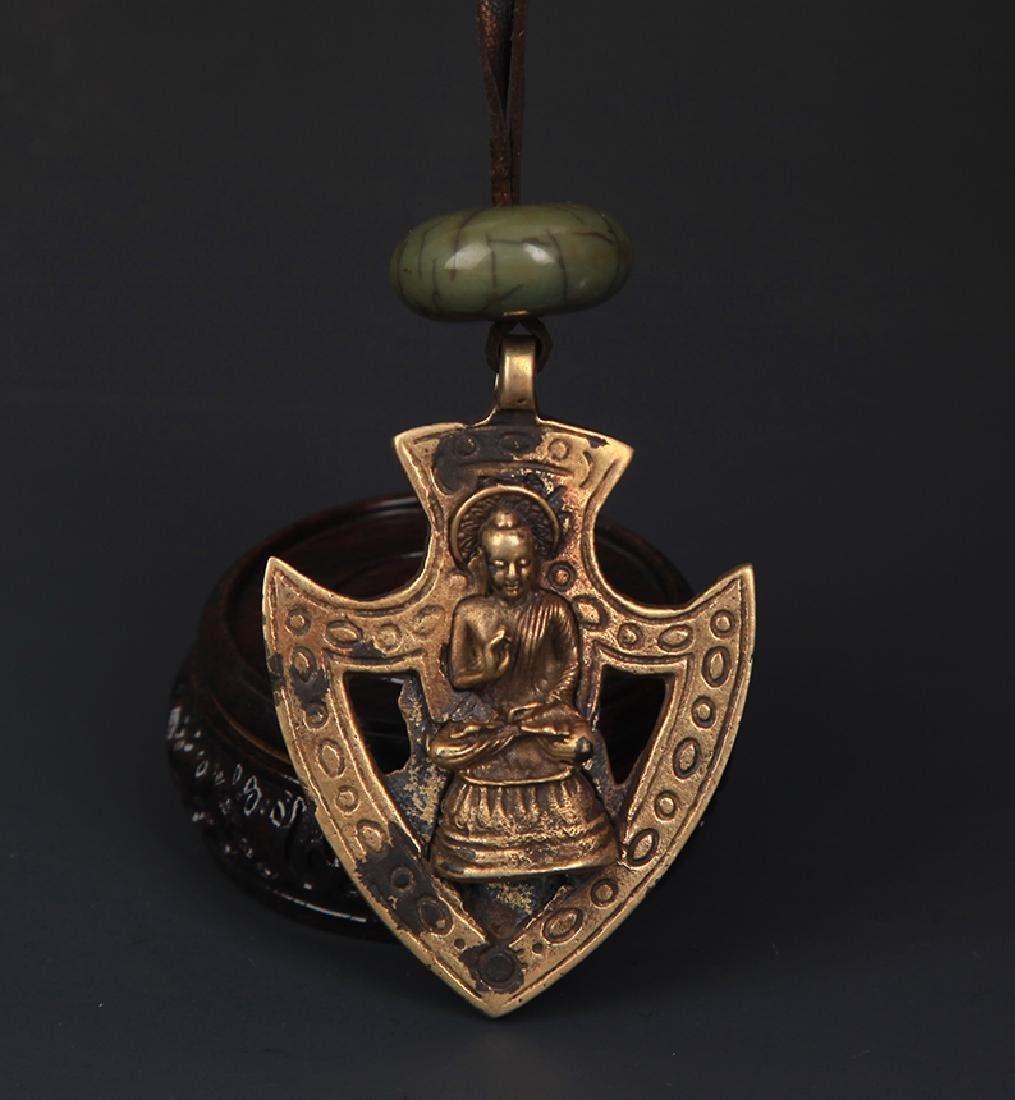 BRONZE AKSHOBHY BUDDHA PENDANT