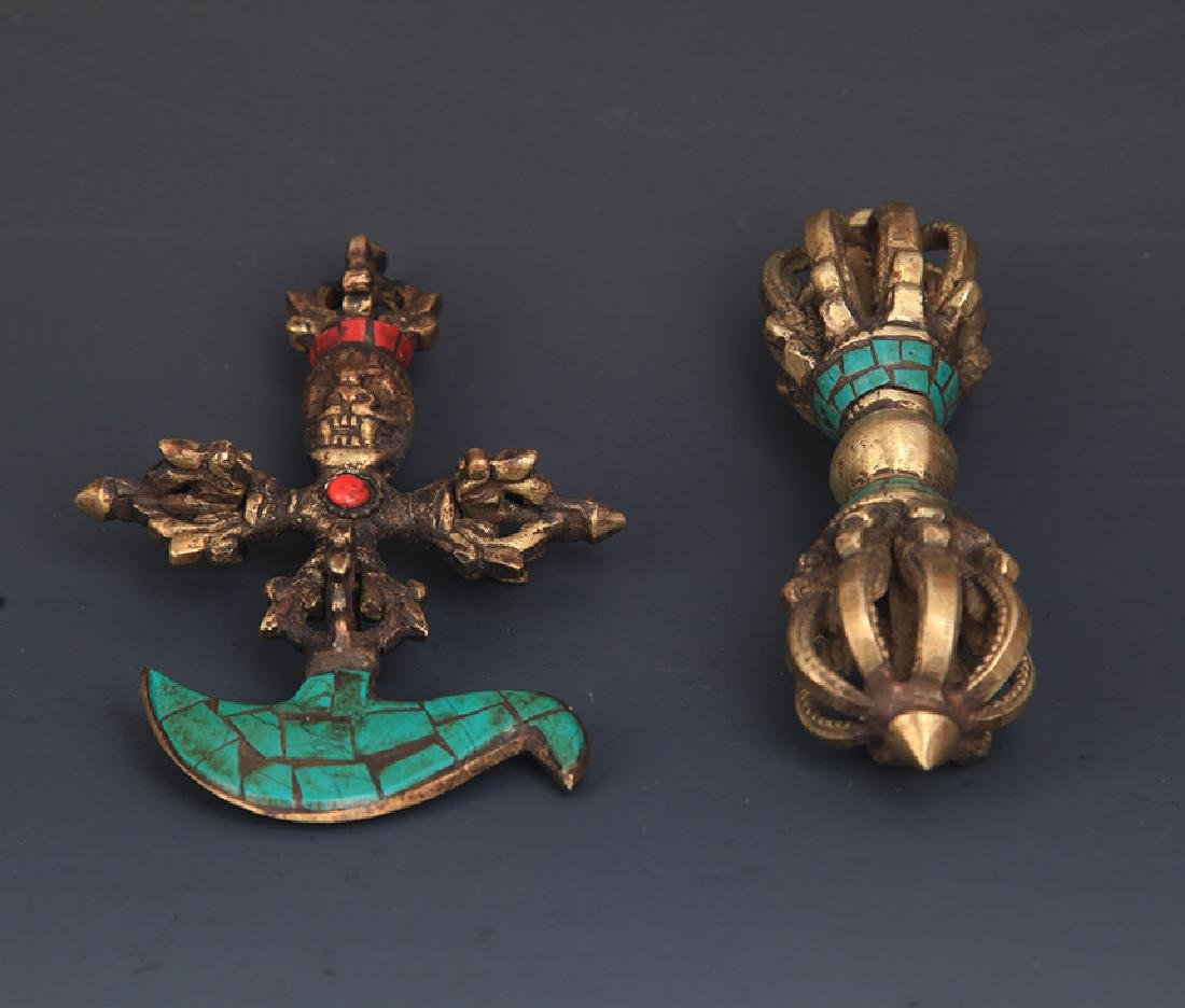PAIR OF TIBETAN BUDDHA PHURBA