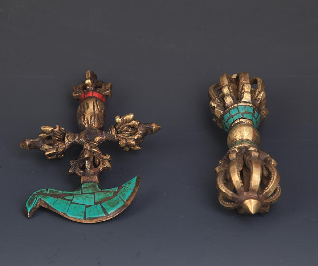 PAIR OF TIBETAN BUDDHA PHURBA - 2