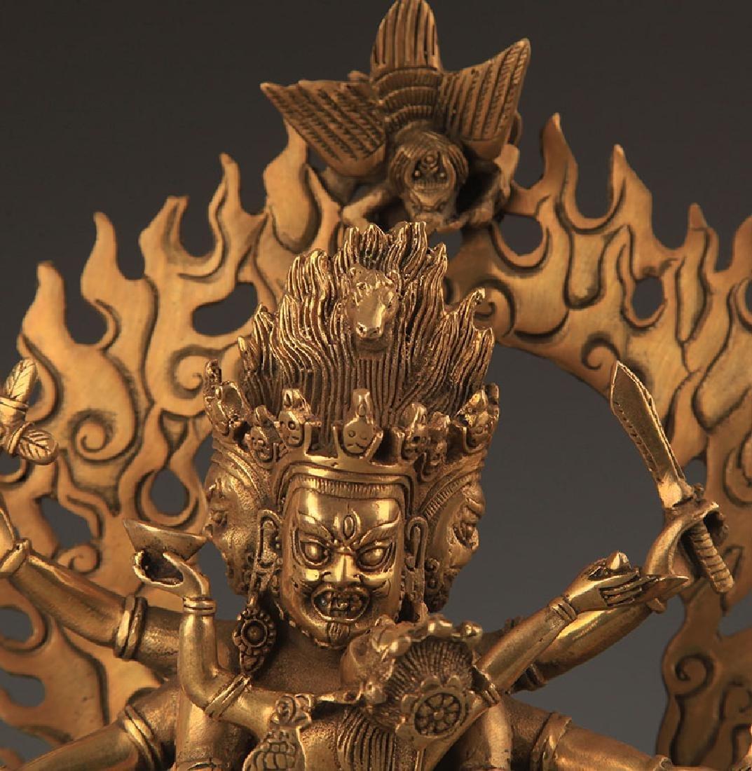 TIBETAN BUDDHISM BRONZE AKSHOBHYA VAJRA STATUE - 2