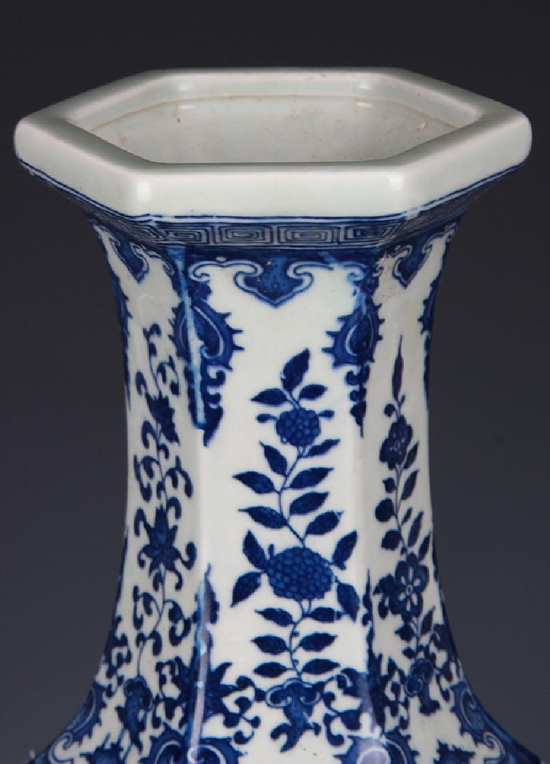 BLUE AND WHITE FLOWER PATTERN SIX SIDE VASE - 2