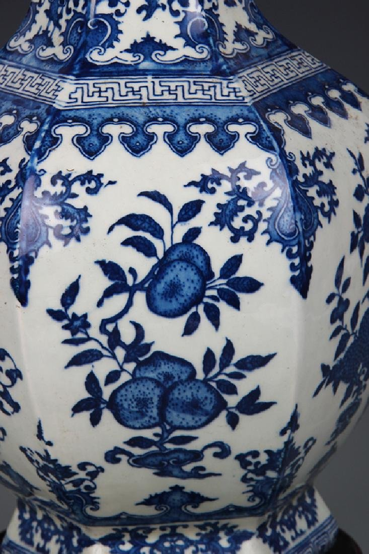 BLUE AND WHITE FLOWER PATTERN SIX SIDE VASE - 3