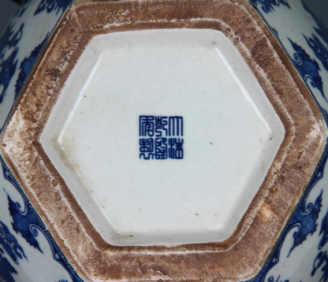 BLUE AND WHITE FLOWER PATTERN SIX SIDE VASE - 4