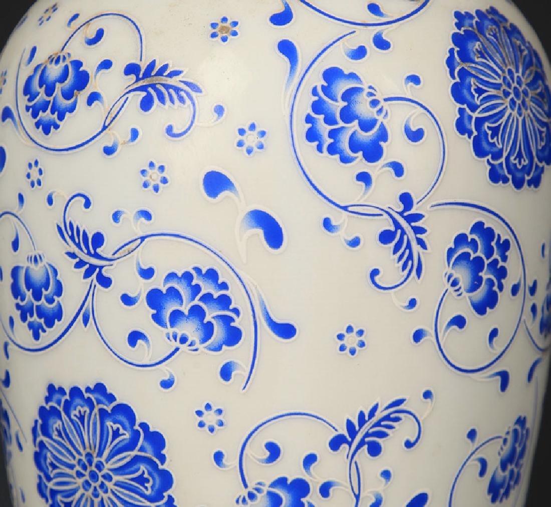BLUE AND WHITE FLOWER PATTERN LANTERN STYLE VASE - 3