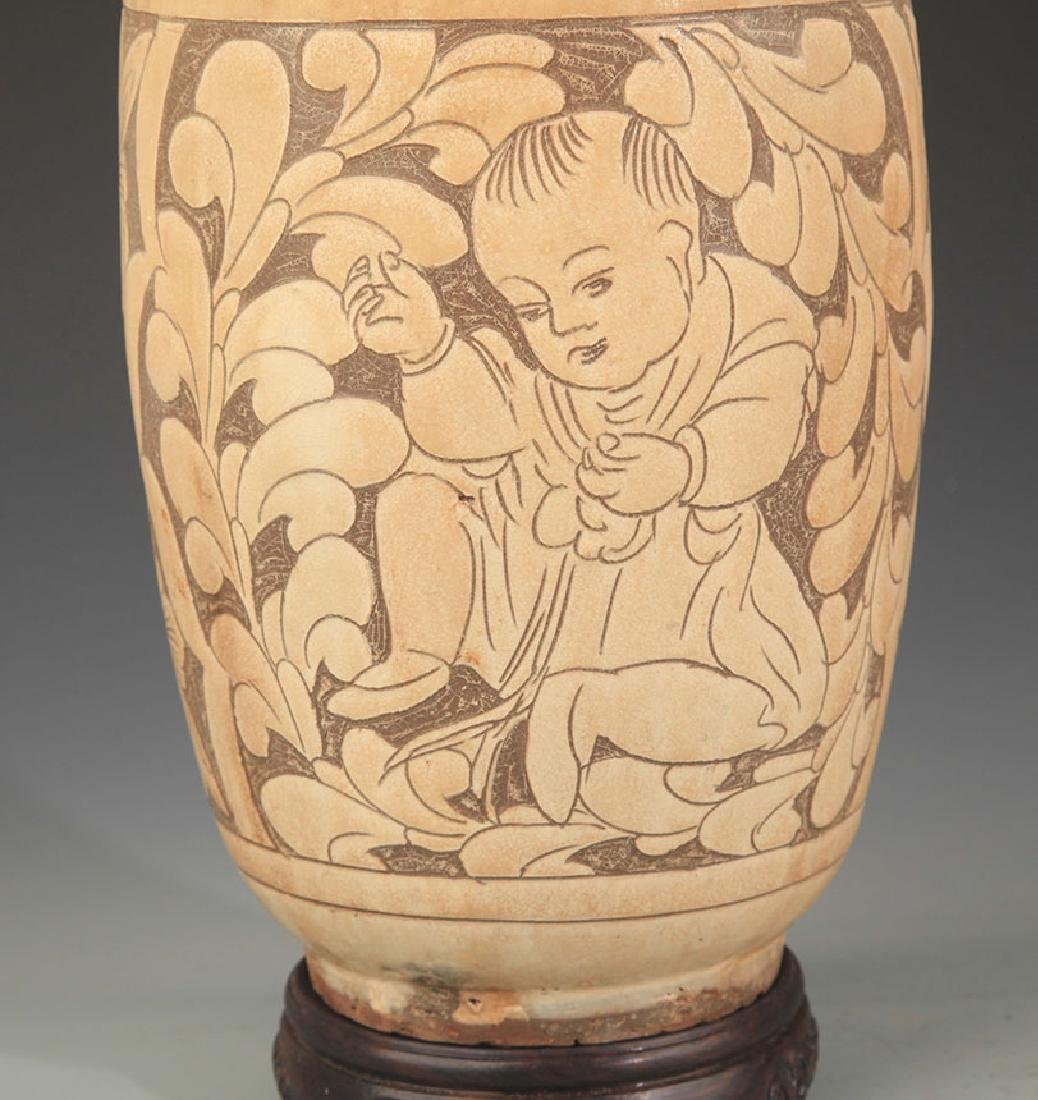 CI ZHOU KILN WHITE GLAZE BOY CARVING EWER - 3
