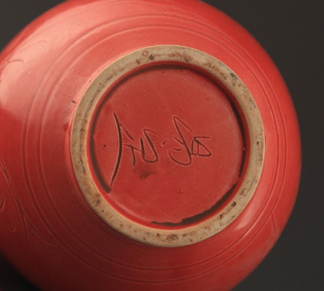 """A """"DING YAO"""" RED COLOR LONG NECK JAR - 5"""