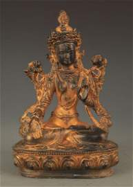 TIBETAN BUDDHISM BRONZE WHITE BODHISTTVA TARA