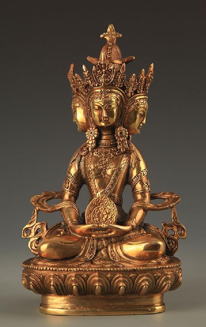 TIBETAN BUDDHISM THREE SIDES VAIROCANA STATUE
