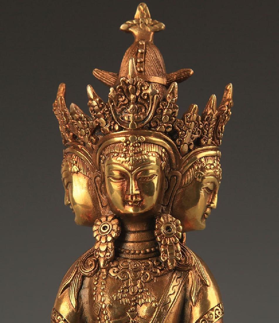 TIBETAN BUDDHISM THREE SIDES VAIROCANA STATUE - 2