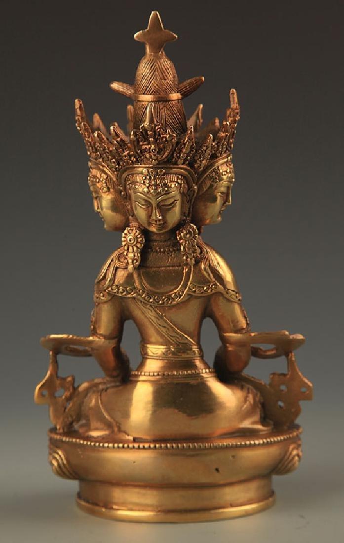 TIBETAN BUDDHISM THREE SIDES VAIROCANA STATUE - 4